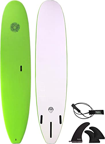 Soft Top Series Beginners Surfboard for Adults and Kids + Fins and Leash [Kona Surf] Picture