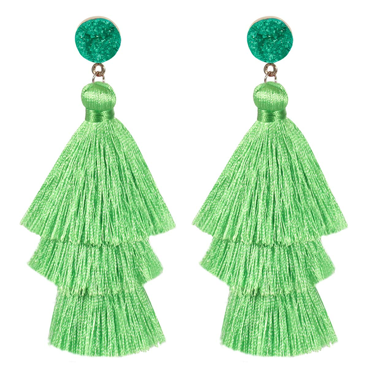 Tassel Earrings for Women Girls Fashion Bohemian Dangle Drop Colorful Layered Tiered fringe Druzy Stud Holiday Gifts