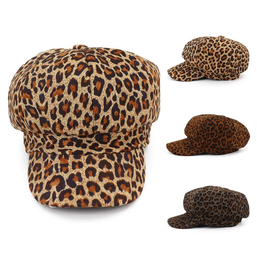 Yamalans Vintage Womens Leopard Print Octagonal Hat Beret Cap Warm Beanie Cap