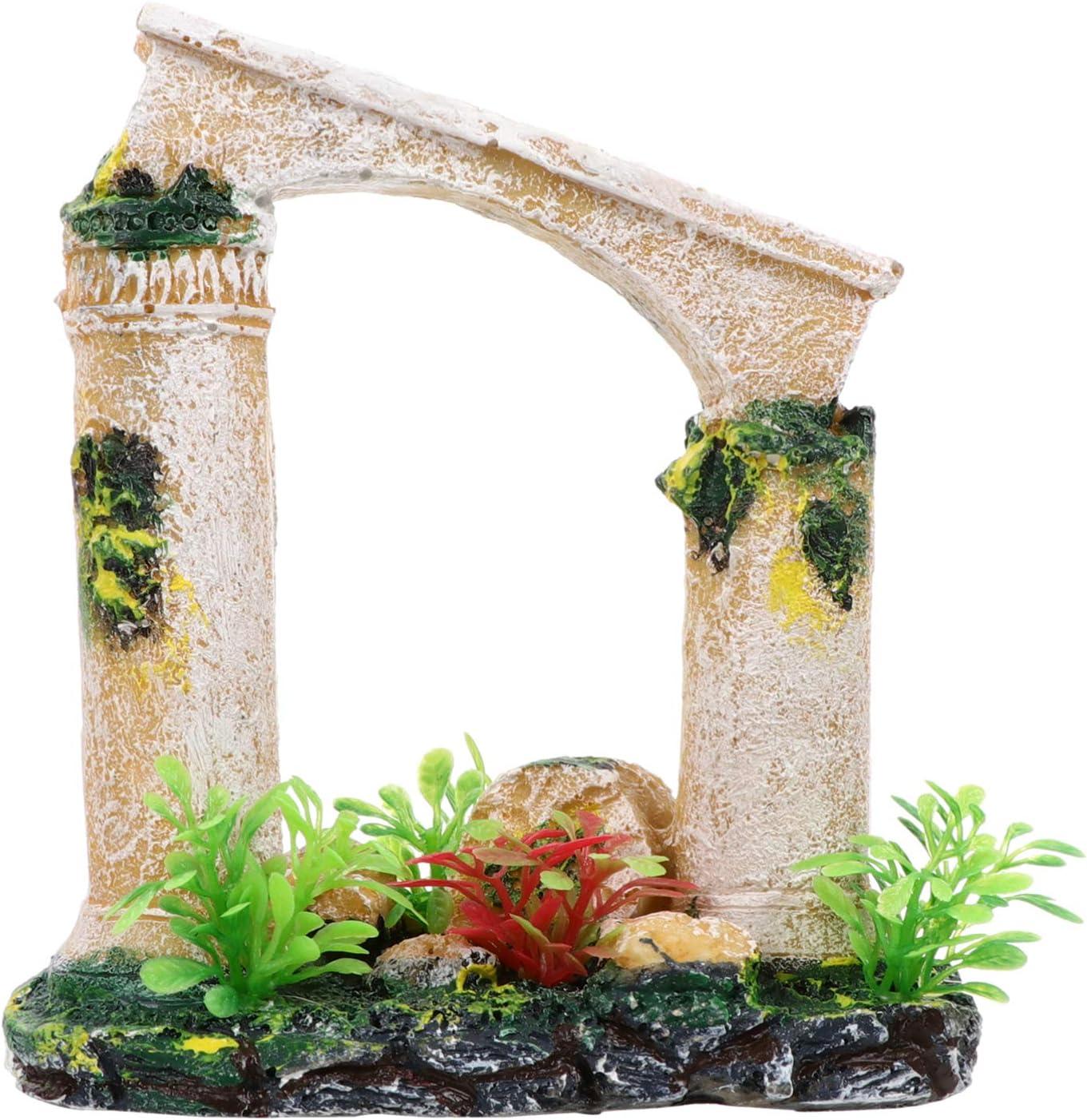 Balacoo Resin Roman Column Ornament Ancient Column Ruins Aquarium Decoration Fish Tank Plants Landscape Hideout for Miniature Fairy Garden Decor