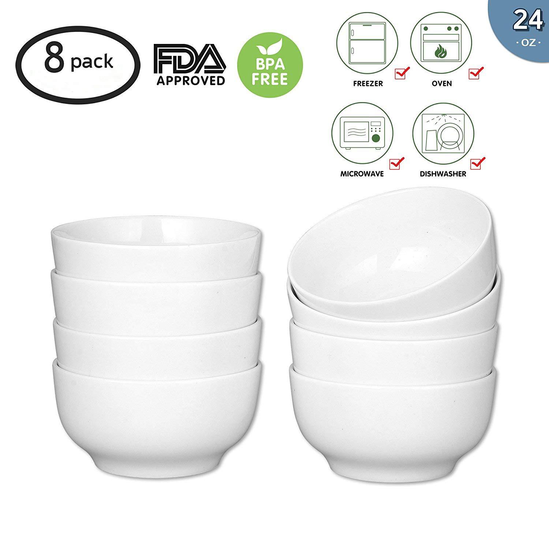 24-Ounce Porcelain Bowl Set,Porcelain Cereal,Soup Bowl Set,Dinner Set- 8 Packs,White,6 Inch
