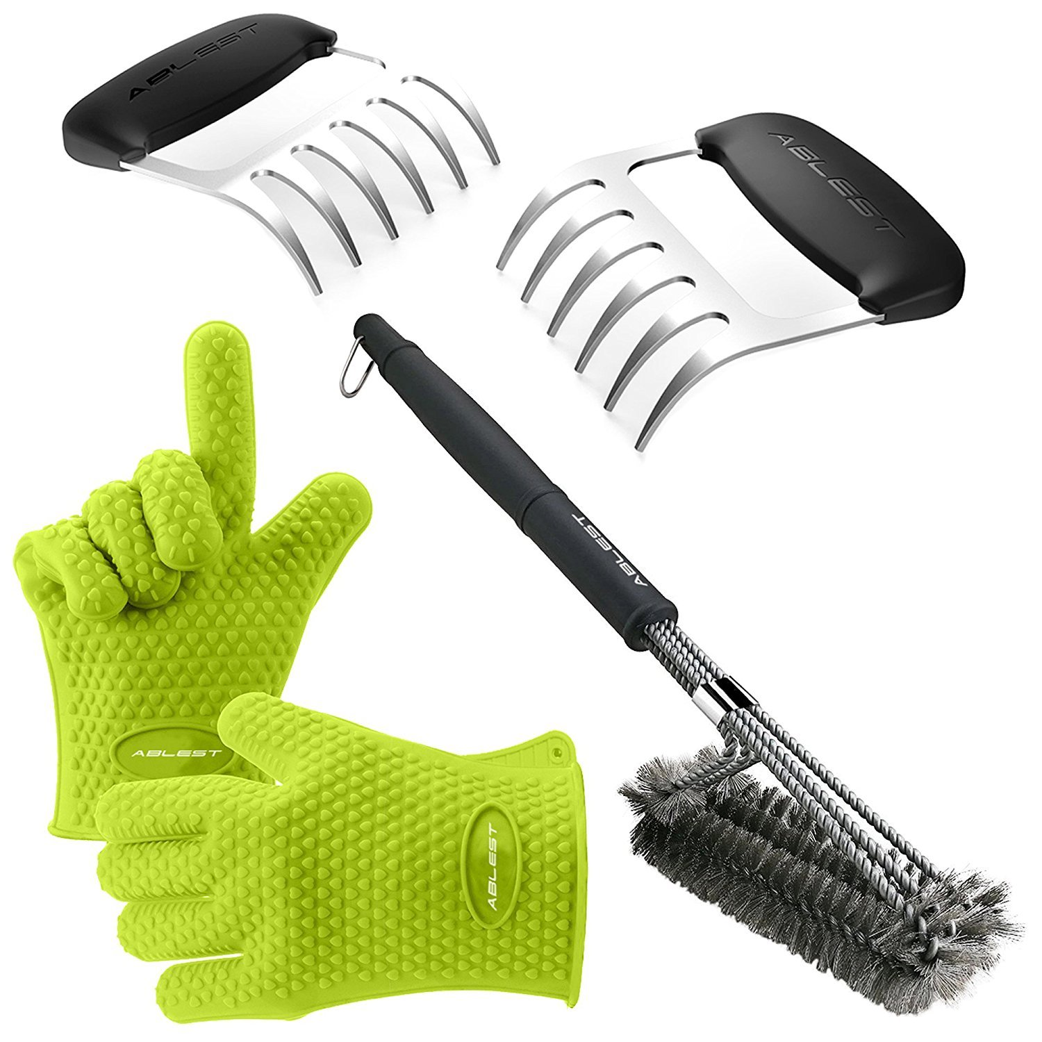 Ablest Silicone BBQ 3 Piece Set - Heat Resistant Gloves & Bear Meat Shredder Claws w/Grill Brush