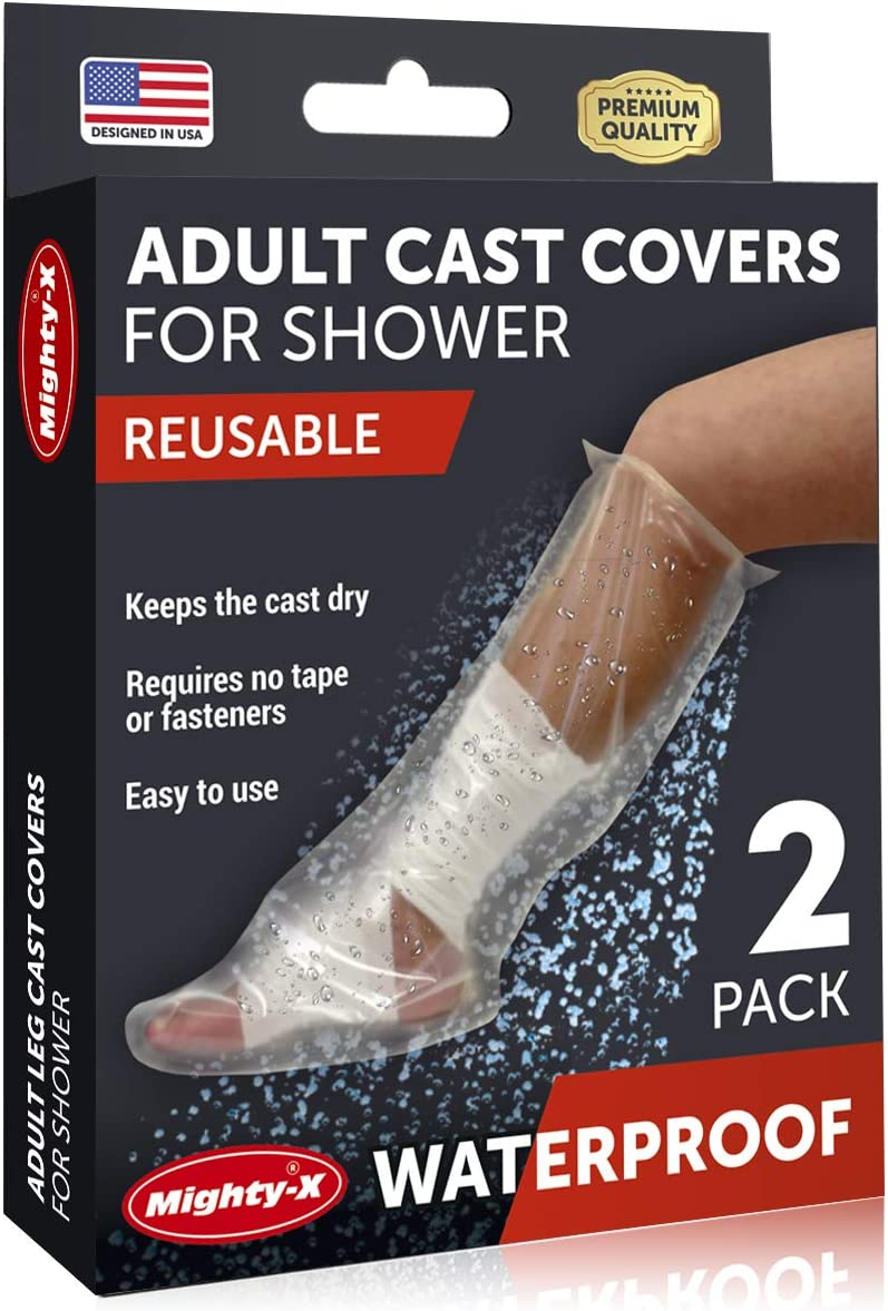 Waterproof Leg Cast Covers for Shower - 100% Reusable - Adult Leg Cast Cover - Half Leg Cast Protector for Shower - 2 Pack