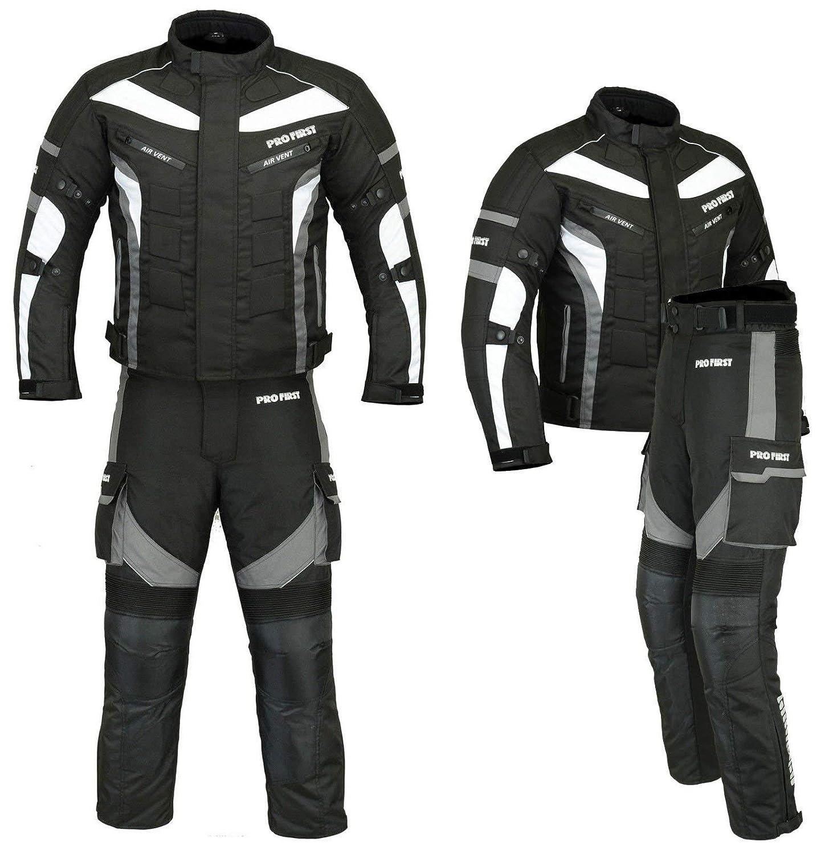 Blau//Blue Cordura Fabric Motorradbekleidung f/ür alle Wetter PROFIRST Wasserdichtes Motorrad Klage Gewebe X-Large // 42 Inch Chest CE Armour Jacke + Hose + Balaclava 6 Packs Entwurf