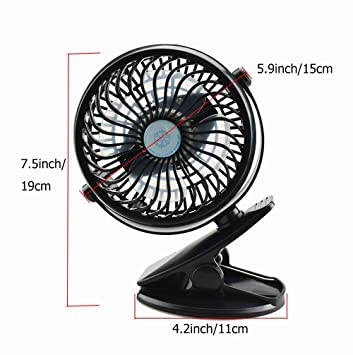 Green SUNREEK USB Fan Mini Clip On Desk Fans with Rechargeable Battery Powered for Baby Stroller Lower Noise Metal Design and 4.9ft USB Cable Enhanced Airflow