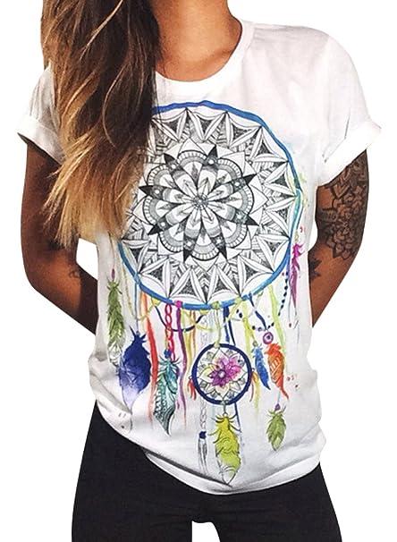 Azbro Mujer Moda Camiseta Mangas Cortas Estampado Atrapasueños de Estilo Suelto,Blanco XL