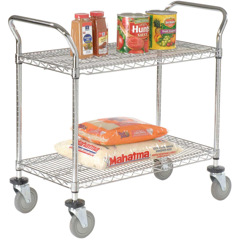 Wire Utility Cart, 2 Shelves, 800 Lb. Capacity, 36''L x 18''W x 38''H