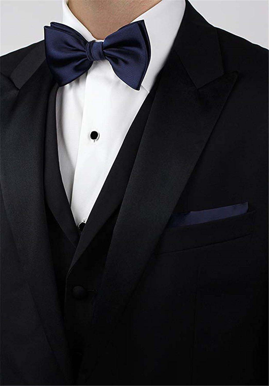 Salt/&Seas Mens Solid Adjustable Pre Tied Bow Tie and Pocket Square Set