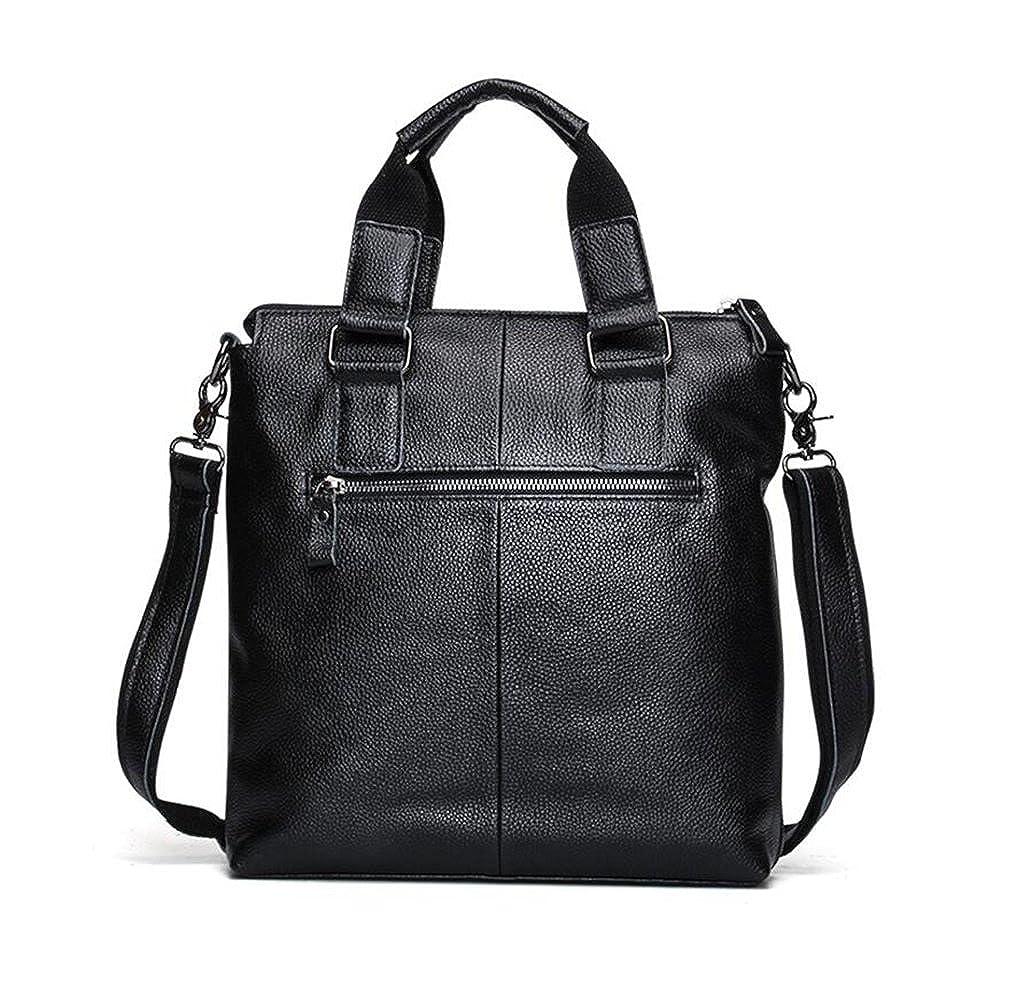 Leather Man Bag Mens Messenger Shoulder Bag Mobile Phone Belt Pouch with Top Handle 29x8x32cm
