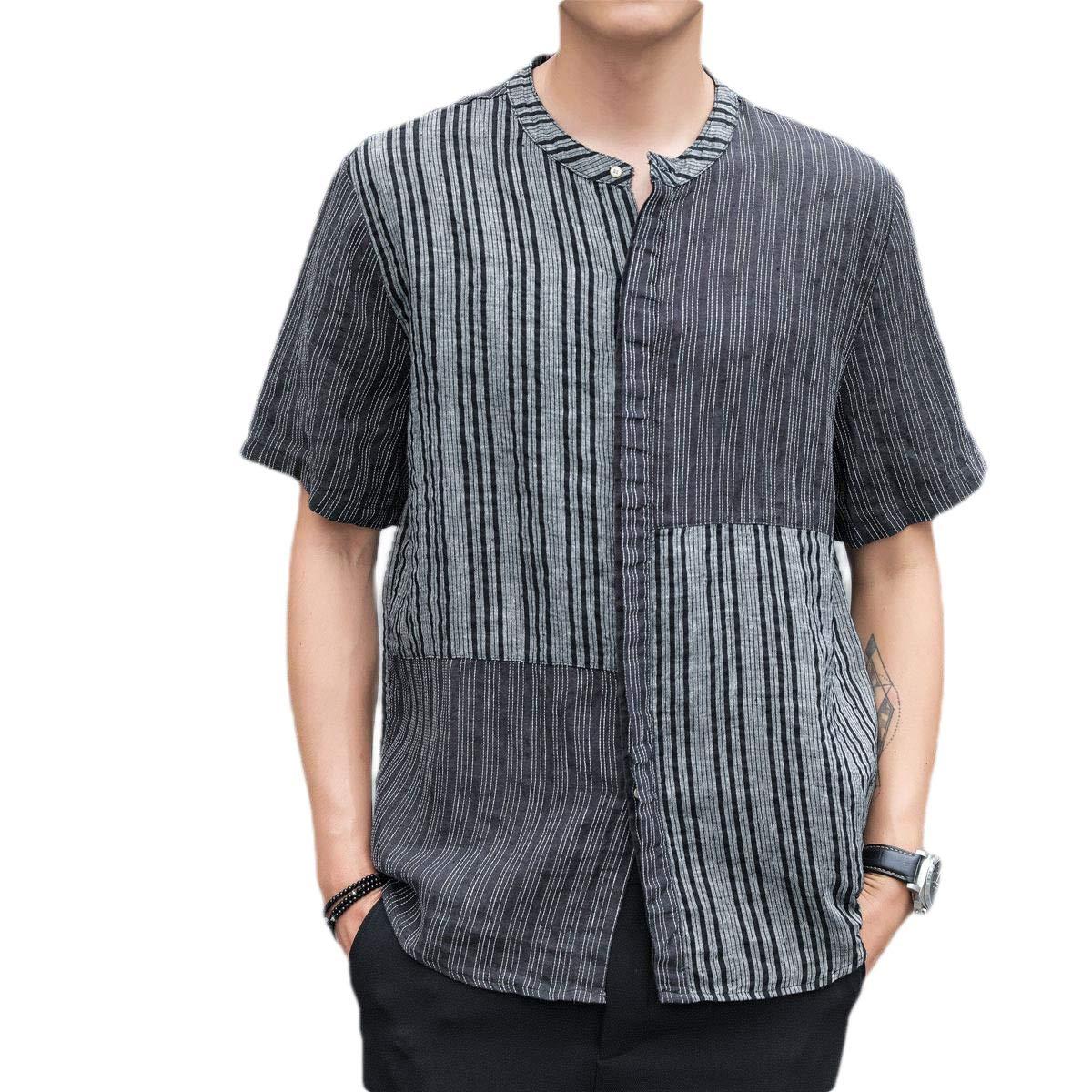 HEFASDM Mens Relaxed Fit Short-Sleeve Linen Summer Button Striped Loose Shirts