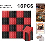 Ace Punch 16 Pack 2 Colors BLACK AND RED Pyramid Acoustic Foam Panel DIY Design Studio Soundproofing Wall Tiles Sound Insulation with Free Mounting Tabs 25 x 25 x 5 cm AP1034