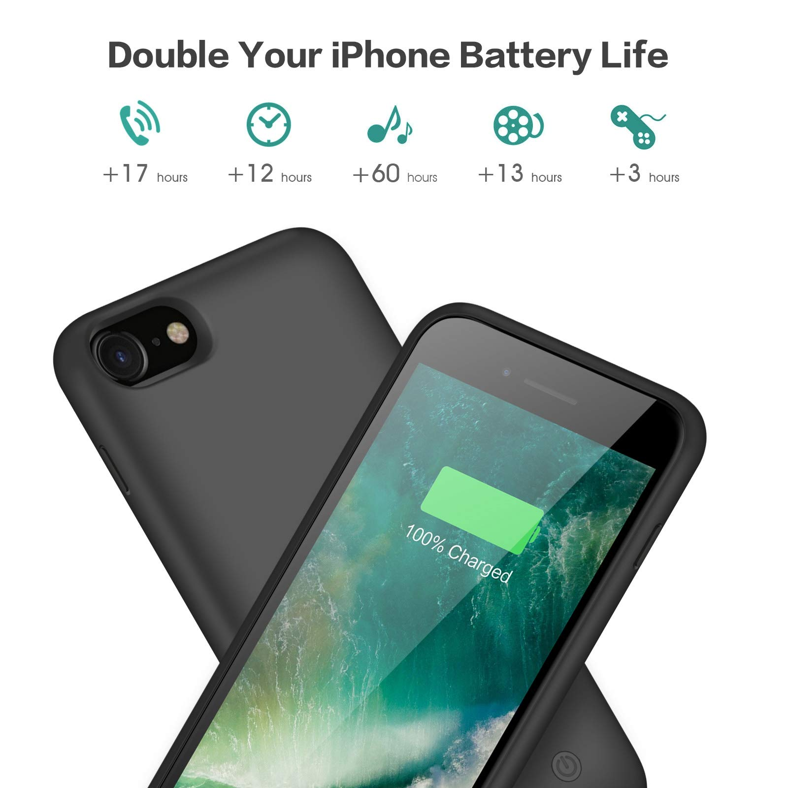 Battery case for iPhone 8/7, Xooparc [6000mah] Upgraded Charging Case Protective Portable Charger Case Rechargeable Extended Battery Pack for Apple iPhone 7/8(4.7') Backup Power Bank Cover (Black) by Xooparc (Image #4)