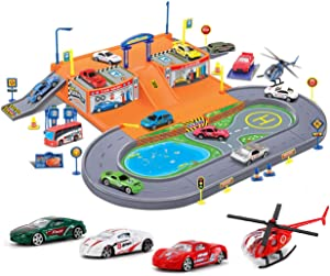 Liberty Imports Super Parking Garage Diecast Racing Playset - 4 Metal Vehicles