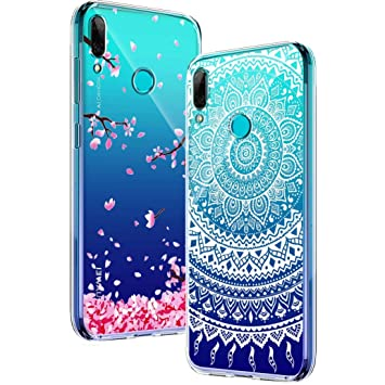 Yoowei [2-Pack] Funda para Huawei P Smart 2019 / Honor 10 Lite, Transparente con Dibujos Ultra Fino Suave TPU Silicona Protector Carcasa para Huawei P ...