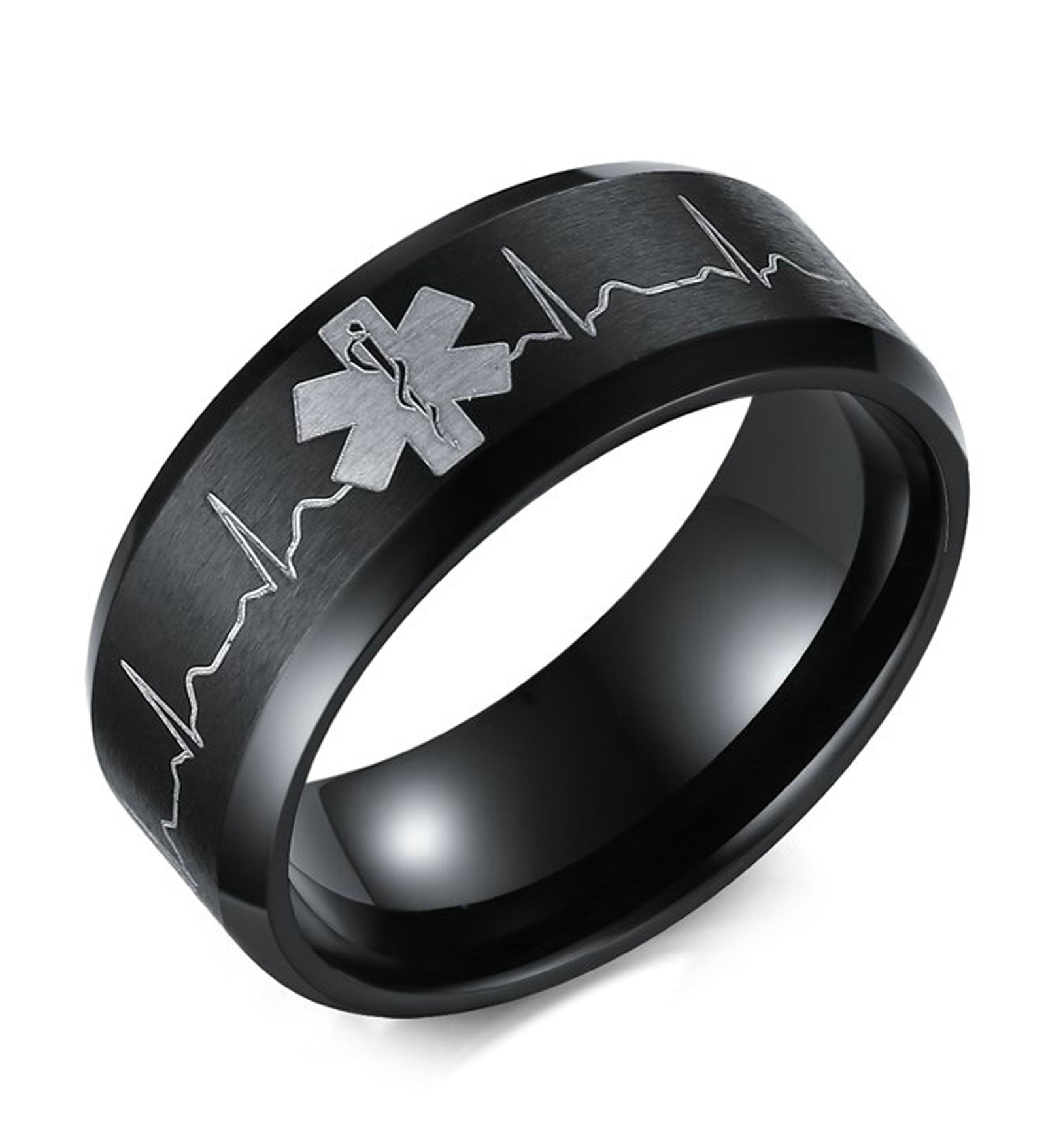 MoAndy Medical Alert Heart Beat Wedding Ring Stainless Steel Brush Black Size 13