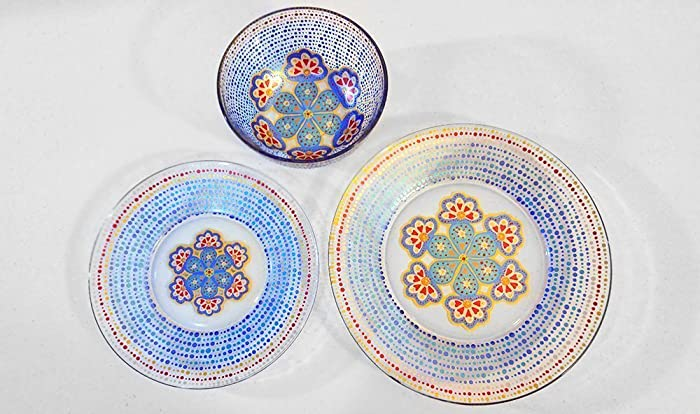 Moroccan Patterned Dinnerware Set Designer Hand Painted Artisan Glass & Amazon.com: Moroccan Patterned Dinnerware Set Designer Hand Painted ...