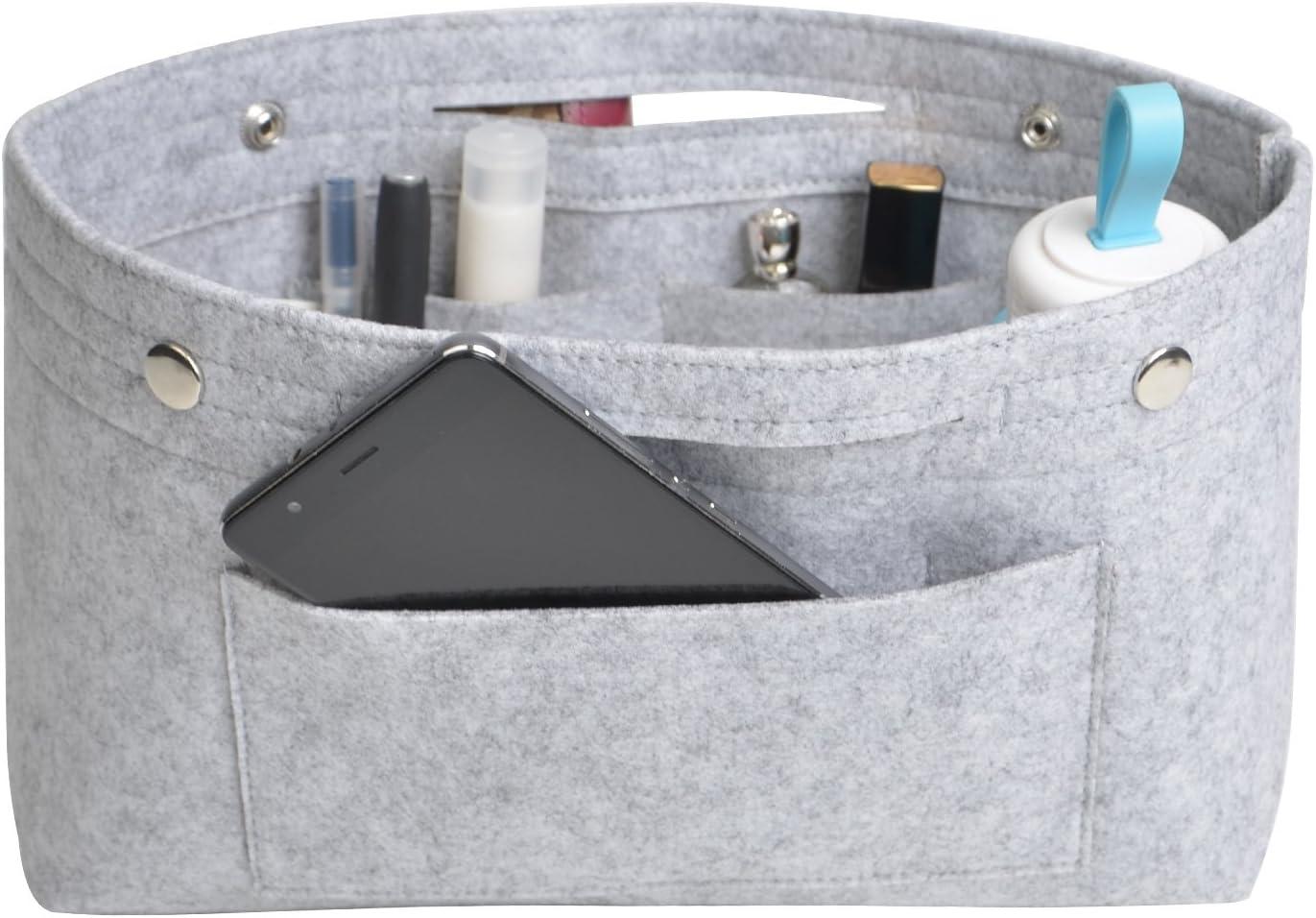 NOTAG Bolso de Organizador de Fieltro, Multifuncionales Bolsillos de Viaje Ordenado Bolsos Insertar Portátil Cosmético Maquillaje Almacenaje (Gris, L)