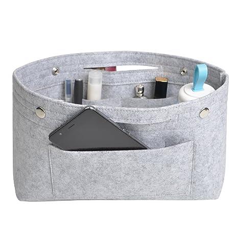 Ropch Organizador de Bolso de Fieltro Multi-Bolsillo Organizador Bolso Insertar Bag in Bag Bolso Cosm/ético para Mujer Beige, M