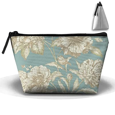 Floral Pattern Makeup Bag Large Trapezoidal Storage Travel Bag Wash Cosmetic Pouch Pencil Holder Zipper Waterproof