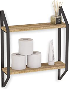 Wallniture Ponza 2-Tier Floating Shelf for Bathroom Organization and Storage, Laundry Room and Kitchen Shelves, Natural Burned Rustic Wood Wall Decor with Metal Brackets