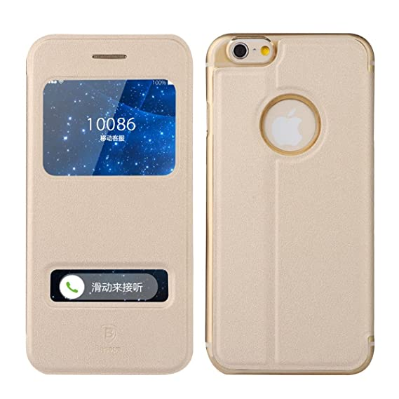 official photos 79ee4 27db5 ?3C-Aone iPhone 6 case, Smart Window View Front Flip Cover W Open Logo Back  Folio Case for iPhone 6 4.7