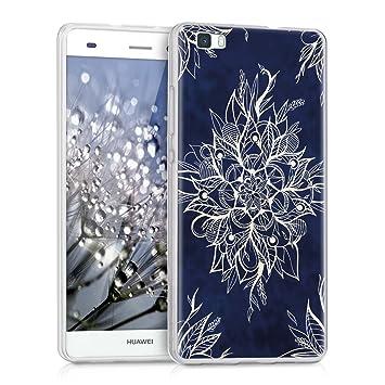 kwmobile Funda para Huawei P8 Lite (2015) - Carcasa de [TPU] para móvil y diseño de Flor Batik en [Blanco/Azul Oscuro]