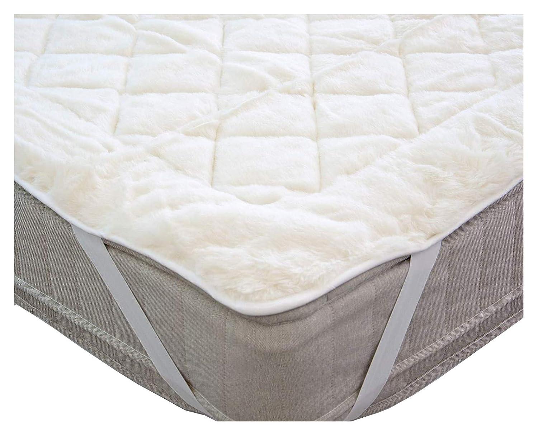 Premium Lujoso colchón Reversible 100% Lana Polar y 100% algodón Mejorar tu Viejo colchón Australiano de Lancashire Ropa de Cama, Tela, Blanco, ...