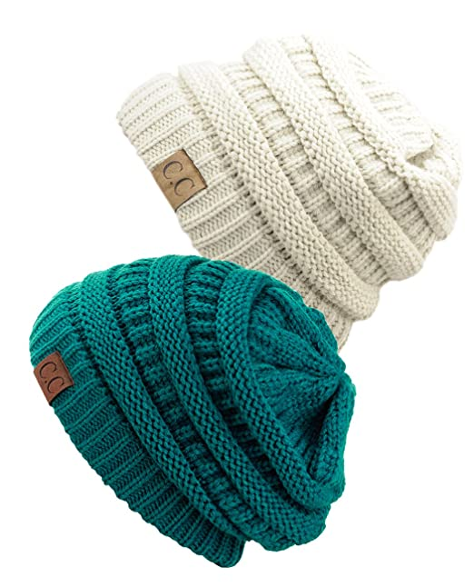 576194d354d Image Unavailable. Image not available for. Color  Unisex Trendy Warm  Chunky Soft Stretch Cable Knit Slouchy Beanie Skully (Gift Set- Teal