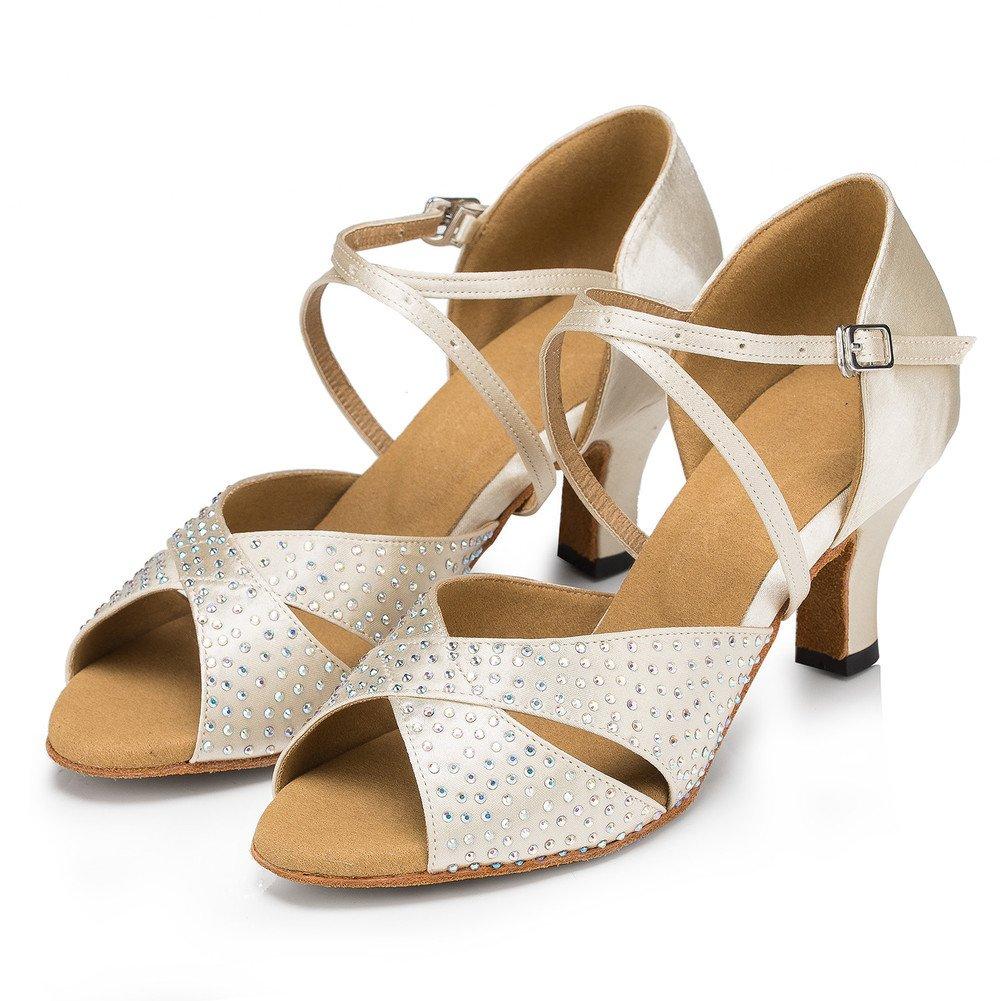 QWERTYUIOP Frauen Diamant Latein Tanzschuhe Pu Leise Unten High Heel Salsa Soziale Tanzschuhe Indoor Sandale