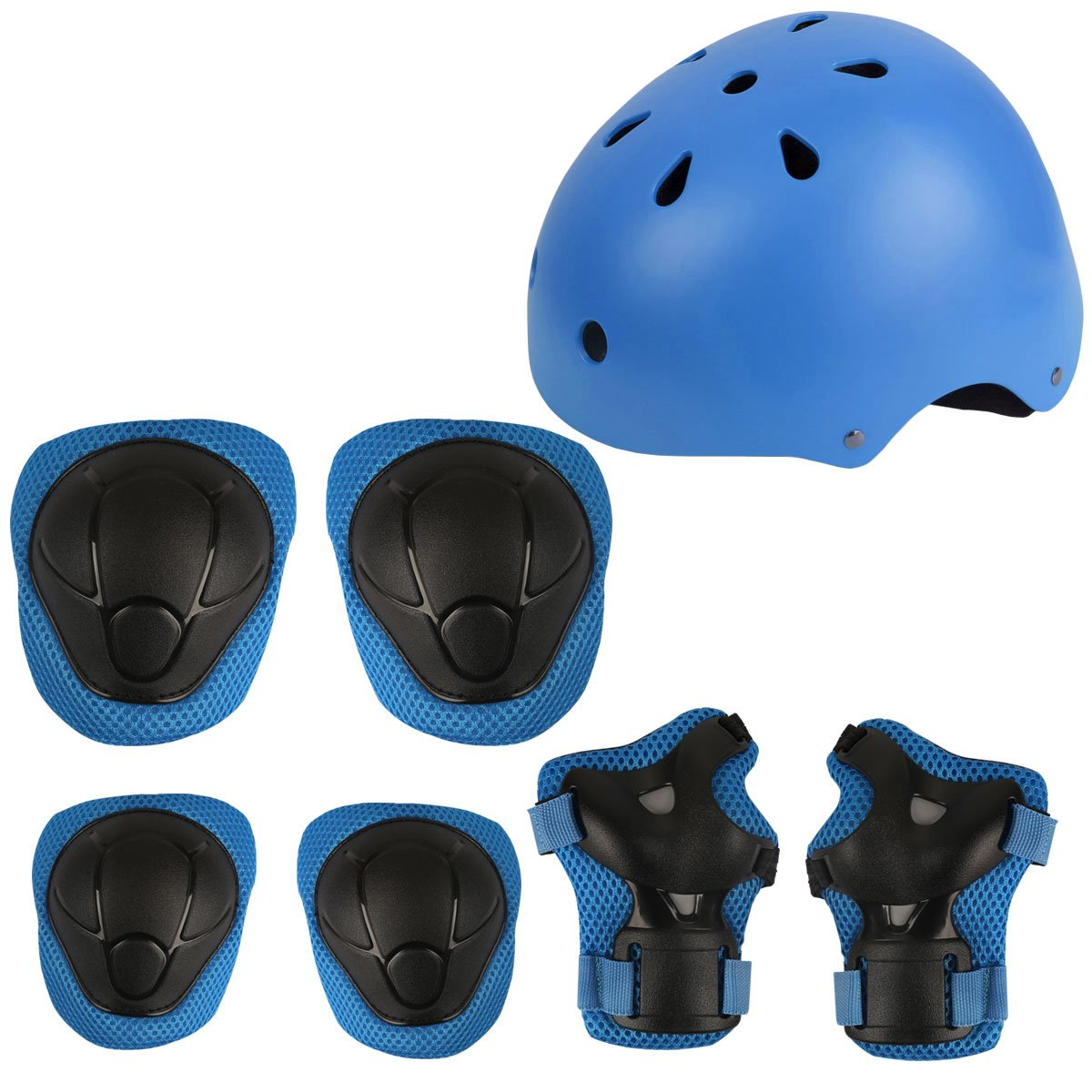 Herbalcandybox Kid's Protective Gear Set with Wrist Guard Knee Pads Elbow Pads Helmet,Blue
