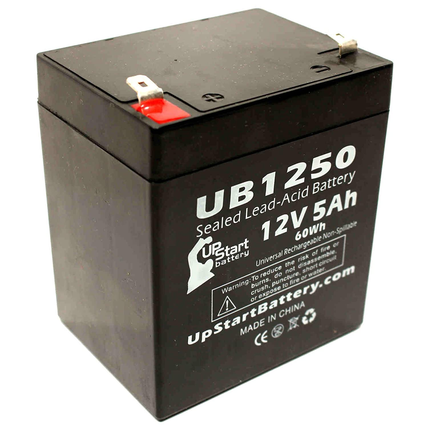 BB Battery BP5-12 Battery - Replacement UB1250 Universal Sealed Lead Acid Battery (12V, 5Ah, 5000mAh, F1 Terminal, AGM, SLA) - Includes TWO F1 to F2 Terminal Adapters - Also For Ademco 4110XM, 4110DL, F6H500, F6C1000-TW-RK