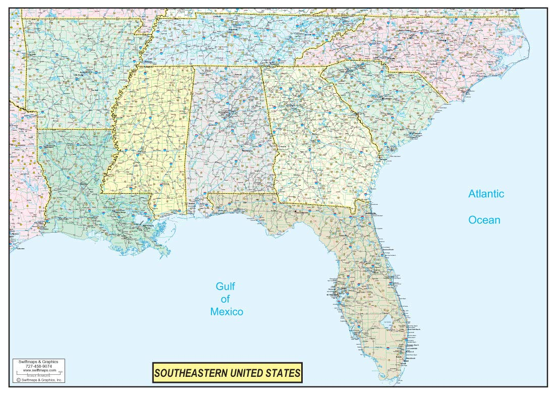 36x50 Southeastern United States USA US Executive Wall Map Poster on united states interstate system, united states roads, usa highways, east coast interstate highways, in the united states highways, us interstate highways, map of western united states highways, major us highways, united states map with highways and freeways, united states map major highways, montana highways, map of the united states and highways, map of oklahoma major highways, united states interstate highways, map of united states with highways,