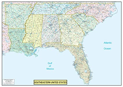 36x50 Southeastern United States USA US Executive Wall Map Poster