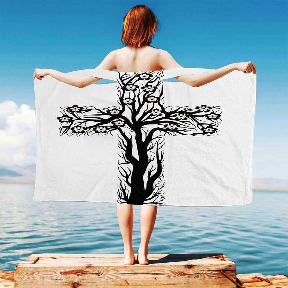 iPrint Baptism Quick Dry Plush Microfiber (Towel+Square scarf+Bath towel) Floral-Christian-Cross-in-Tree-Shape-Christ-Religion-Prayer-Blessed-Miracle-Symbol And Adapt to any place