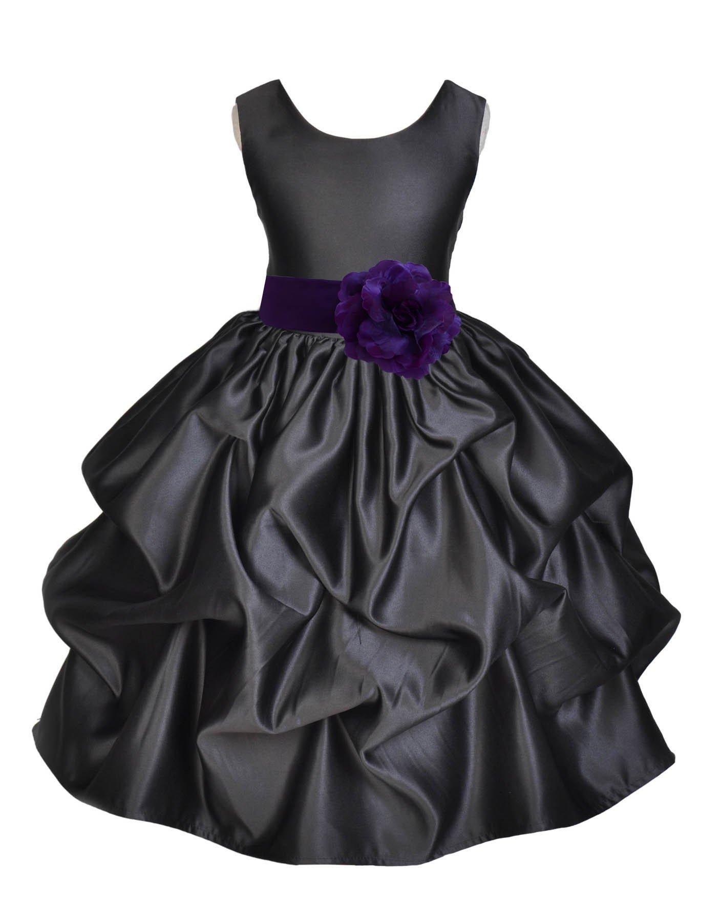 ekidsbridal Black Pick-Up Satin Bubble Flower Girl Dress Ballroom Dance Dresses 208T 2 by ekidsbridal (Image #2)