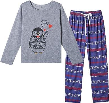 Fieer Mens 2-Piece Autumn Long-Sleeve Comfort Warm Sleepwear Set