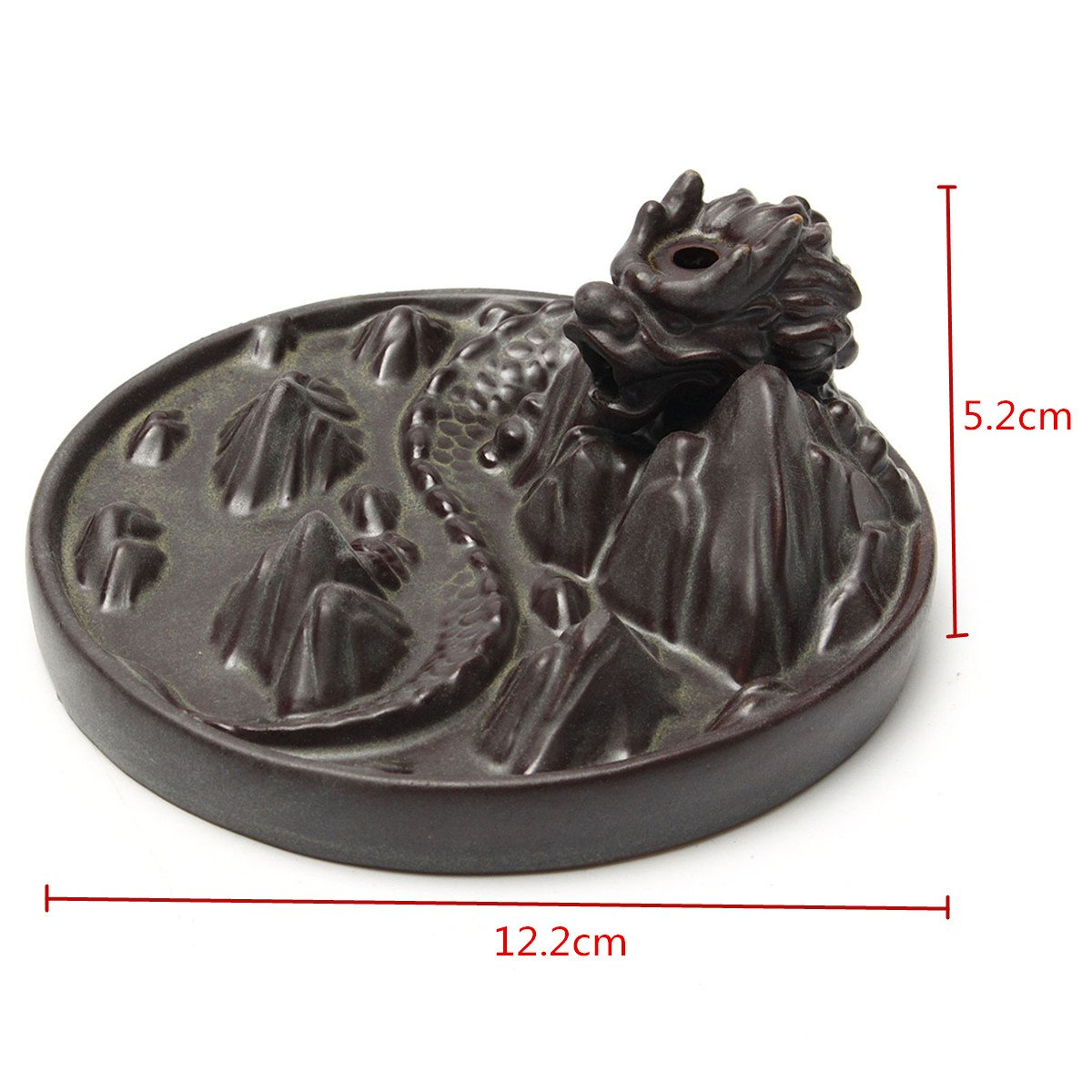 Jeteven Dragon Backflow Incense Burner with Cones Ceramic Dragon Incense Holder \'\'Dragon Mountain\'\' 12.2 x 5.2cm