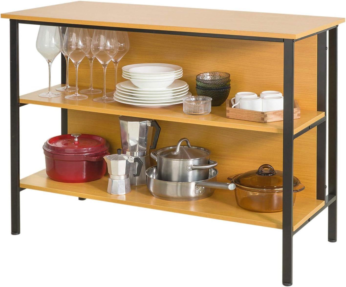 SoBuy Table Console Table de Cuisine Table Haute de Bar Buffet avec 2 /étag/ères de Rangement 110x50x80cm Bois Clair - FSB28-N