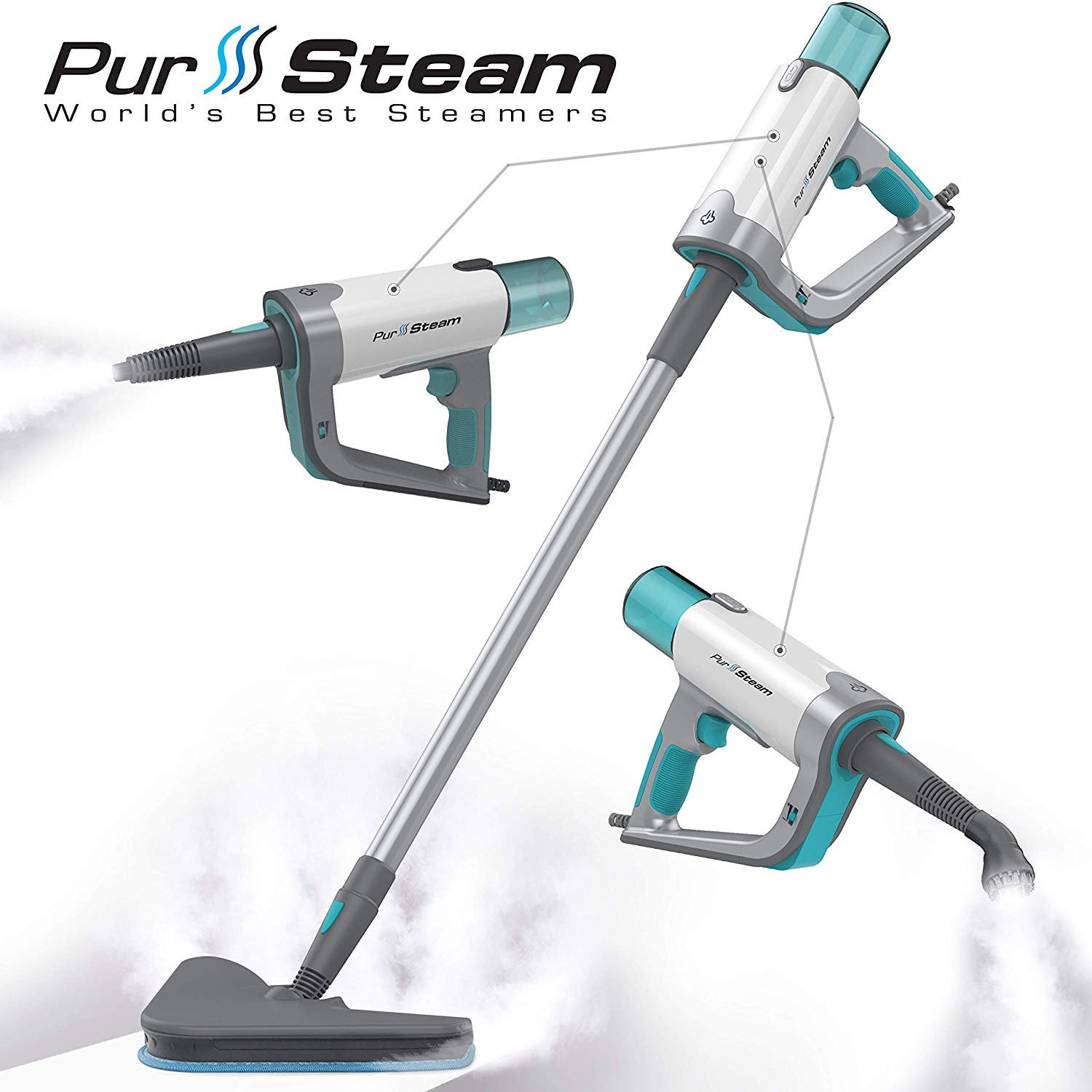 Steam Mop Cleaner ThermaPro Elite 12 in 1 for Hardwood/Tiles/Vinyl/Carpet - Easy-Detachable Handheld Steam Cleaner for Kitchen - Garment - Furniture and Clothes, Multifunctional Whole House Steamer by PurSteam World's Best Steamers