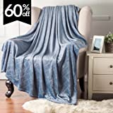 Fleece Throw Blanket Air Force Blue Embossed Plaid Pattern 50x60 Throw size Flannel Bed Throw Luxury Modern Design