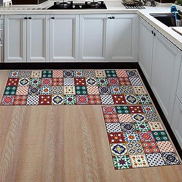 Ommda Küchen Teppiche Läufer Flur Vintage Antiskid Schlafzimmer  Küchenläufer Dekorativ mit Gummirückseite 60x180cm