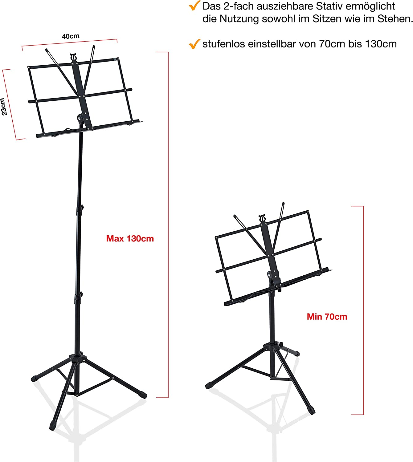 Music stand for children and professionals orchestral stand FurprX. stable and lightweight foldable extendable from 70 cm to 130 cm in black music holder with carry bag
