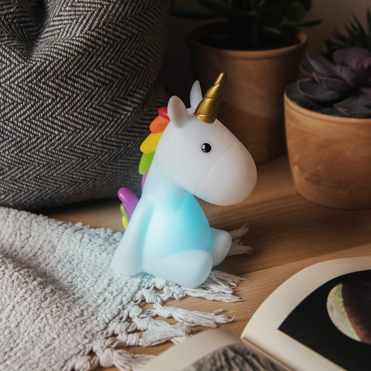 Dhink L/ámpara Unicornio t/áctil recargable con funci/ón de temporizador y atenuador Multi color y luz blanca