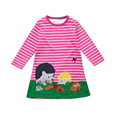 a6d0ca31 OverDose Toddler Kids Baby Girls Cotton Long Sleeve Dress 2018 Birthday  Tunic Dress Children Clothes Striped Applique Robe: Amazon.co.uk: Clothing