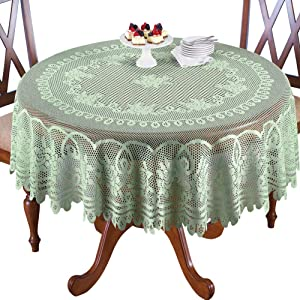"""Collections Etc Crochet Lace Floral Tablecloth for Dining Room Accent or Layering Linens, Sage Green, 70"""" Round"""