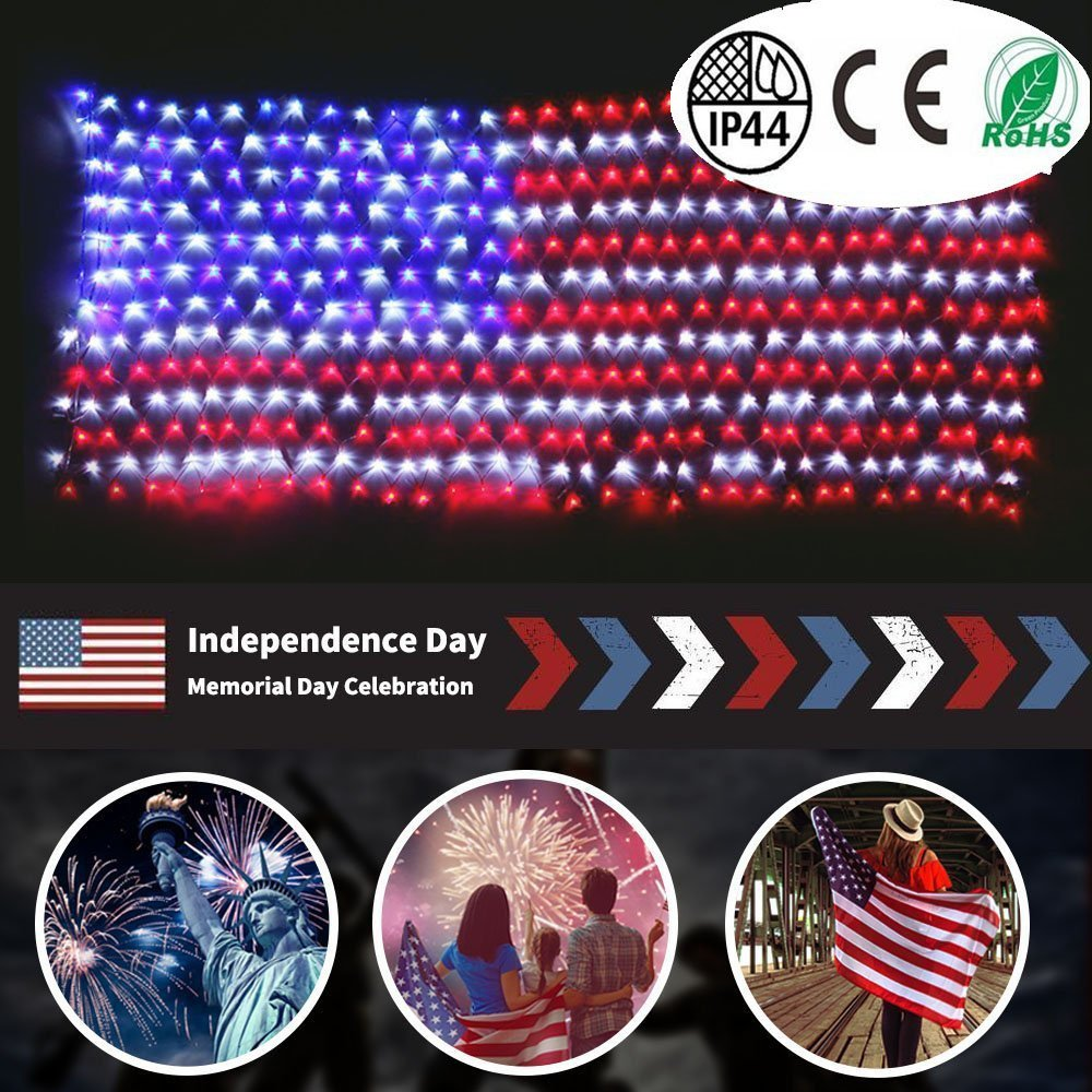 yinqing Led Flag Net Lights of The United States, Waterproof American Flag Light for Independence Day,Memorial Day, Festival, Garden,Indoor and Outdoor