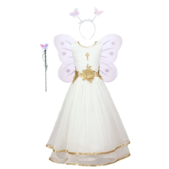 dbb99f6085fe0 Aarika Girl's Christmas Angel Gown with Butterfly Wings  (PARI-767-CREAM_28_7-8 Years): Amazon.in: Clothing & Accessories