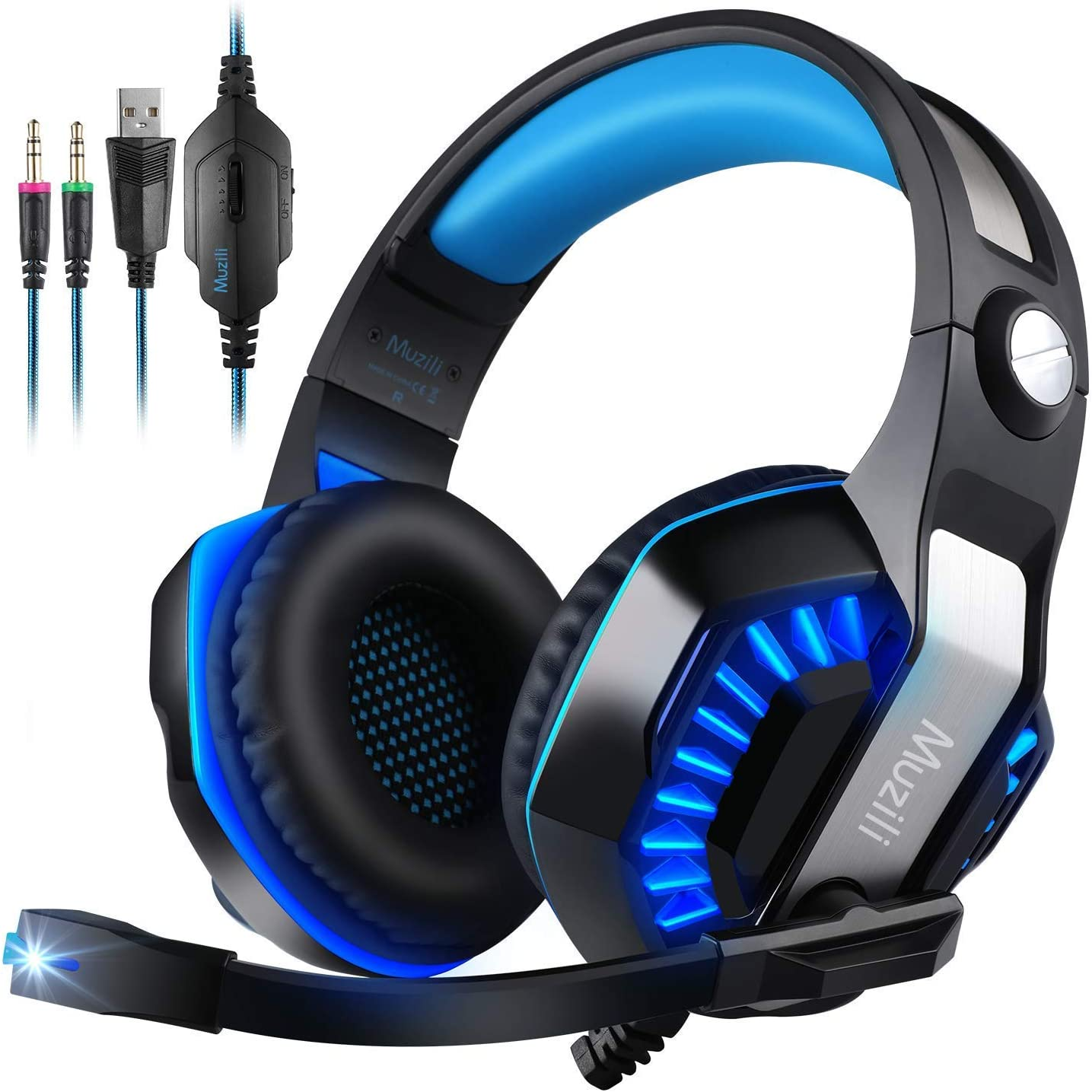 Deep Bass Muzili Gaming Headset, 50mm Driver Units for 7.1 Surround Sound Stereo Hi-Fi for PC, PS4, Xbox One,Mobile Phone, Noise-Cancelling Headset with Mic, LED Lights, Soft Memory Earmuffs