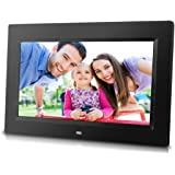 10 inch Digital Photo Frame with Remote Control, High Resolution 1024x600 LCD screen, Built-in Slideshow & adjustable Interval Time, Wall-mountable, Easy Set-up (Black)