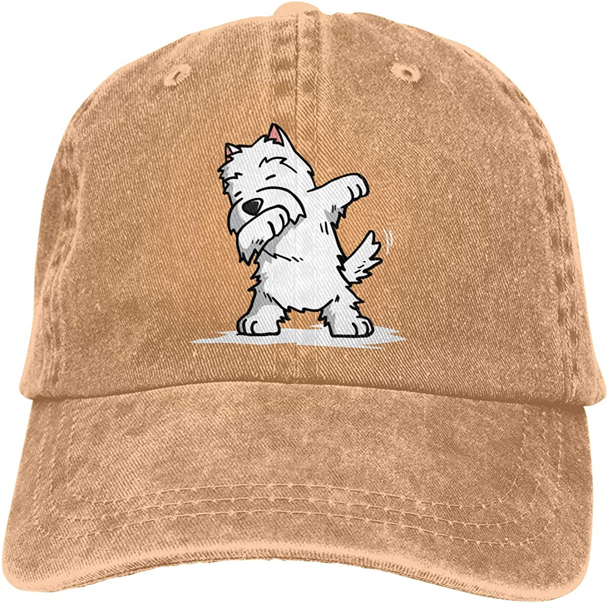 XZFQW Funny Dabbing West Highland White Terrie Trend Printing Cowboy Hat Fashion Baseball Cap for Men and Women Black